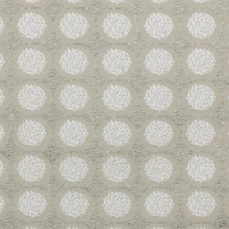 Embroidered Mosaic Geometric Neutral Beige Linen Blend Drapery Fabric / Titanium