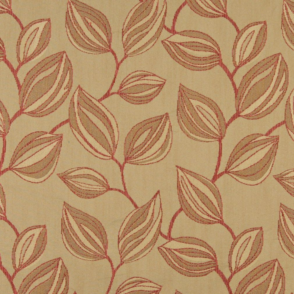 Essentials Cityscapes Mustard Sienna Botanical Leaf Pattern Upholstery Fabric