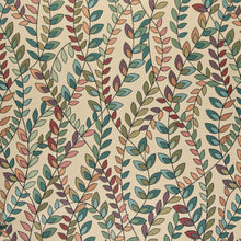 Load image into Gallery viewer, Essentials Cityscapes Mustard Teal Green Red Purple Botanical Leaf Upholstery Fabric