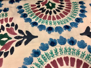 Embroidered Floral Velvet Drapery Fabric Ivory Blue Green / Nouveau RMBLV