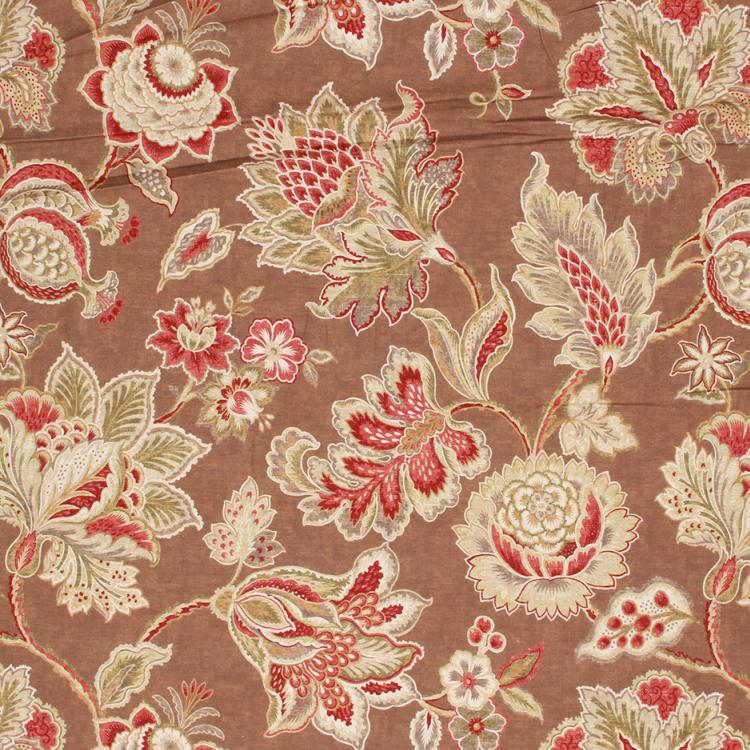 Cotton Upholstery Drapery Floral Fabric Brown Red Beige / Nutmeg