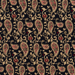 Essentials Navy Beige Red Upholstery Fabric / Port Paisley