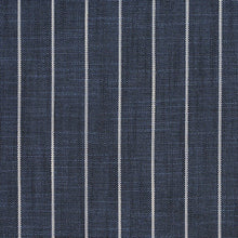 Load image into Gallery viewer, Essentials Navy Beige Stripe Upholstery Drapery Fabric / Indigo Pinstripe