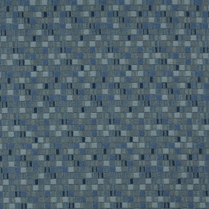 Essentials Navy Blue Aqua Mosaic Upholstery Fabric / Denim