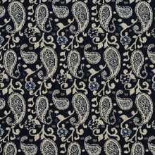 Load image into Gallery viewer, Essentials Navy Blue Beige White Upholstery Fabric / Cobalt Paisley