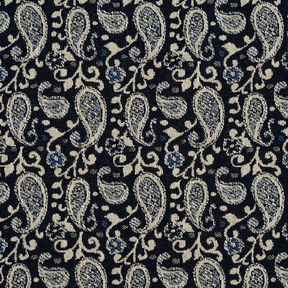 Essentials Navy Blue Beige White Upholstery Fabric / Cobalt Paisley