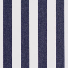 Load image into Gallery viewer, Essentials Outdoor Navy Blue White Canopy Stripe Upholstery Fabric