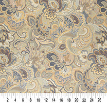 Load image into Gallery viewer, Essentials Cityscapes Navy Blue Gray Gold Beige Floral Paisley Upholstery Drapery Fabric