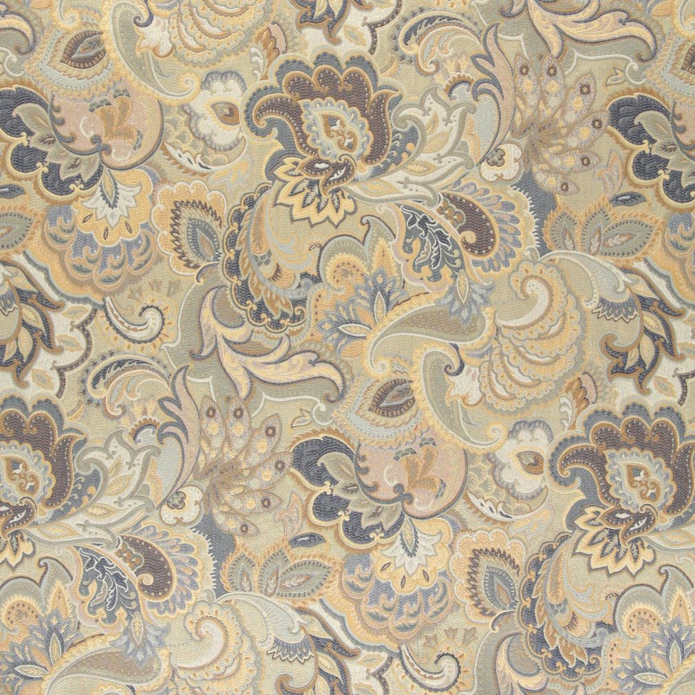 Essentials Cityscapes Navy Blue Gray Gold Beige Floral Paisley Upholstery Drapery Fabric