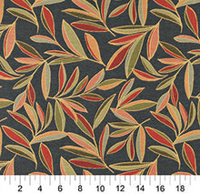 Load image into Gallery viewer, Essentials Cityscapes Navy Blue Green Lime Red Coral Mustard Leaves Upholstery Drapery Fabric
