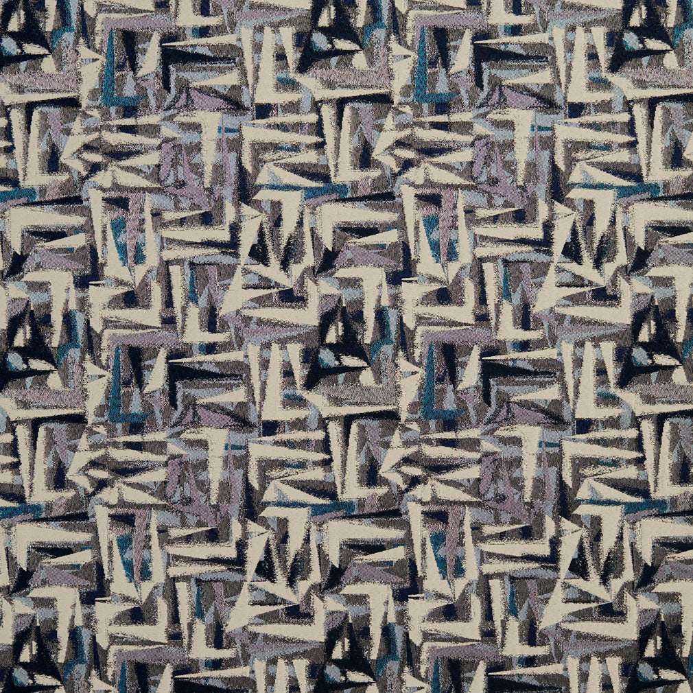 Essentials Navy Blue Mauve Aqua Gray Beige Upholstery Fabric / Sapphire Abstract