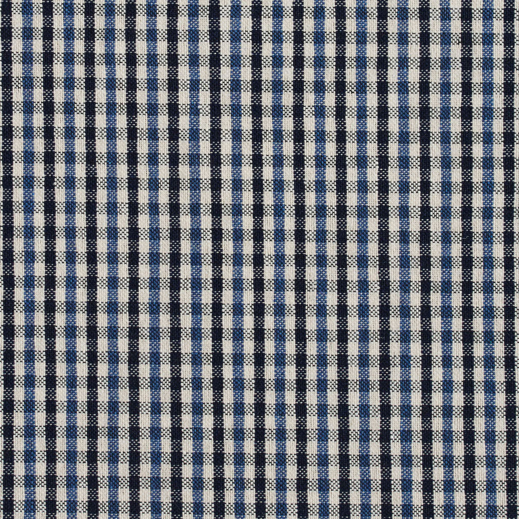 Essentials Navy Blue White Plaid Upholstery Fabric / Cobalt Check