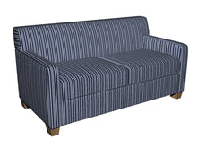 Load image into Gallery viewer, Essentials Navy Blue White Yellow Upholstery Fabric / Cobalt Stripe