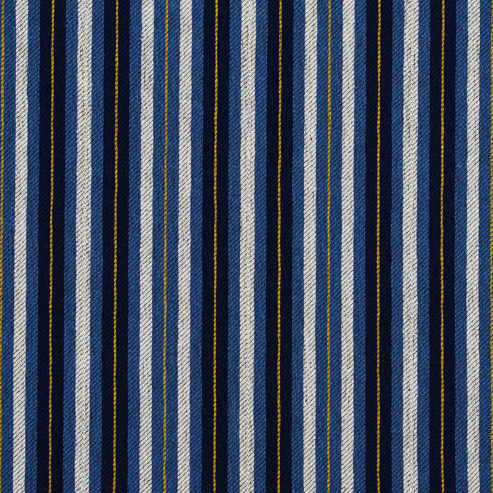 Essentials Navy Blue White Yellow Upholstery Fabric / Cobalt Stripe