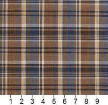 Load image into Gallery viewer, Essentials Navy Brown Beige Checkered Upholstery Drapery Fabric / Indigo Plaid