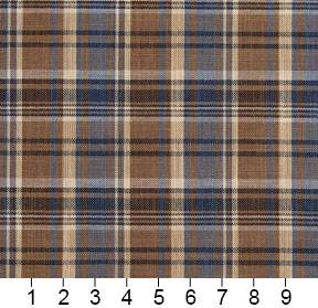 Essentials Navy Brown Beige Checkered Upholstery Drapery Fabric / Indigo Plaid