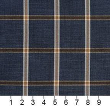 Load image into Gallery viewer, Essentials Navy Brown Cream Checkered Plaid Upholstery Drapery Fabric / Indigo Windowpane