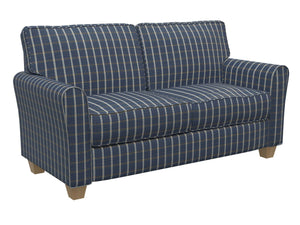 Essentials Navy Brown Cream Checkered Plaid Upholstery Drapery Fabric / Indigo Windowpane