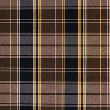 Load image into Gallery viewer, Essentials Black Brown Beige Checkered Upholstery Fabric / Espresso Plaid