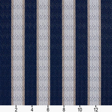 Load image into Gallery viewer, Essentials Outdoor Marine Upholstery Fabric Navy Ivory / Cobalt Stripe