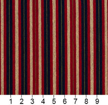 Load image into Gallery viewer, Essentials Navy Maroon Beige Lime Upholstery Fabric / Port Stripe