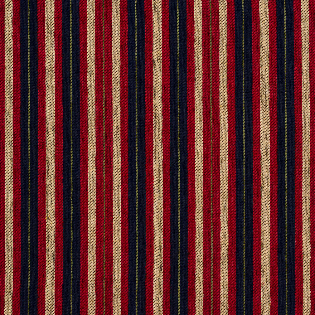 Essentials Navy Maroon Beige Lime Upholstery Fabric / Port Stripe
