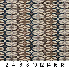 Essentials Navy Tan Gray Beige Geometric Upholstery Fabric / Royal Interlock
