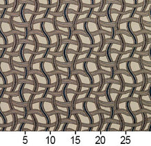 Load image into Gallery viewer, Essentials Navy Tan Gray Beige Wavy Trellis Upholstery Fabric / Royal Maze