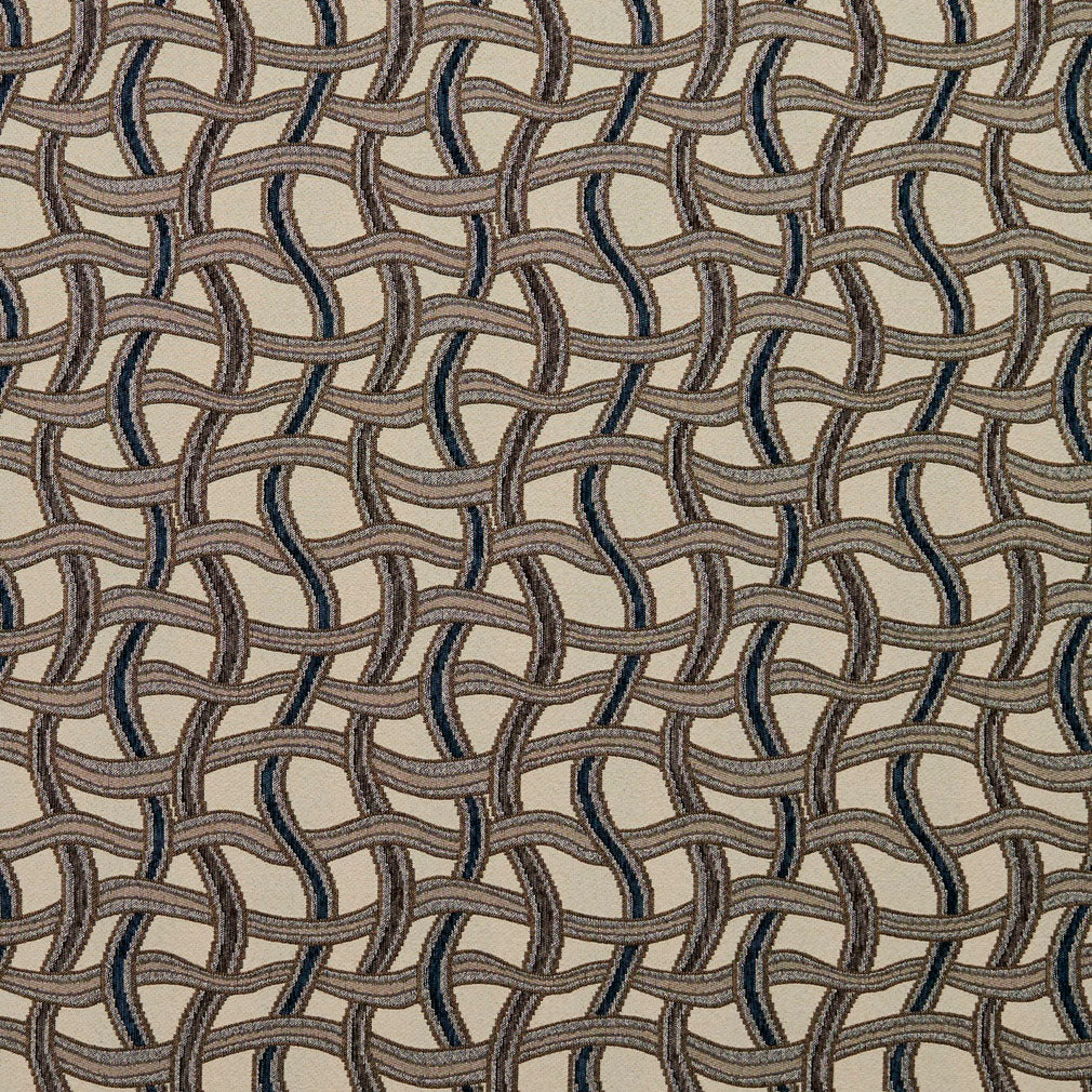 Essentials Navy Tan Gray Beige Wavy Trellis Upholstery Fabric / Royal Maze