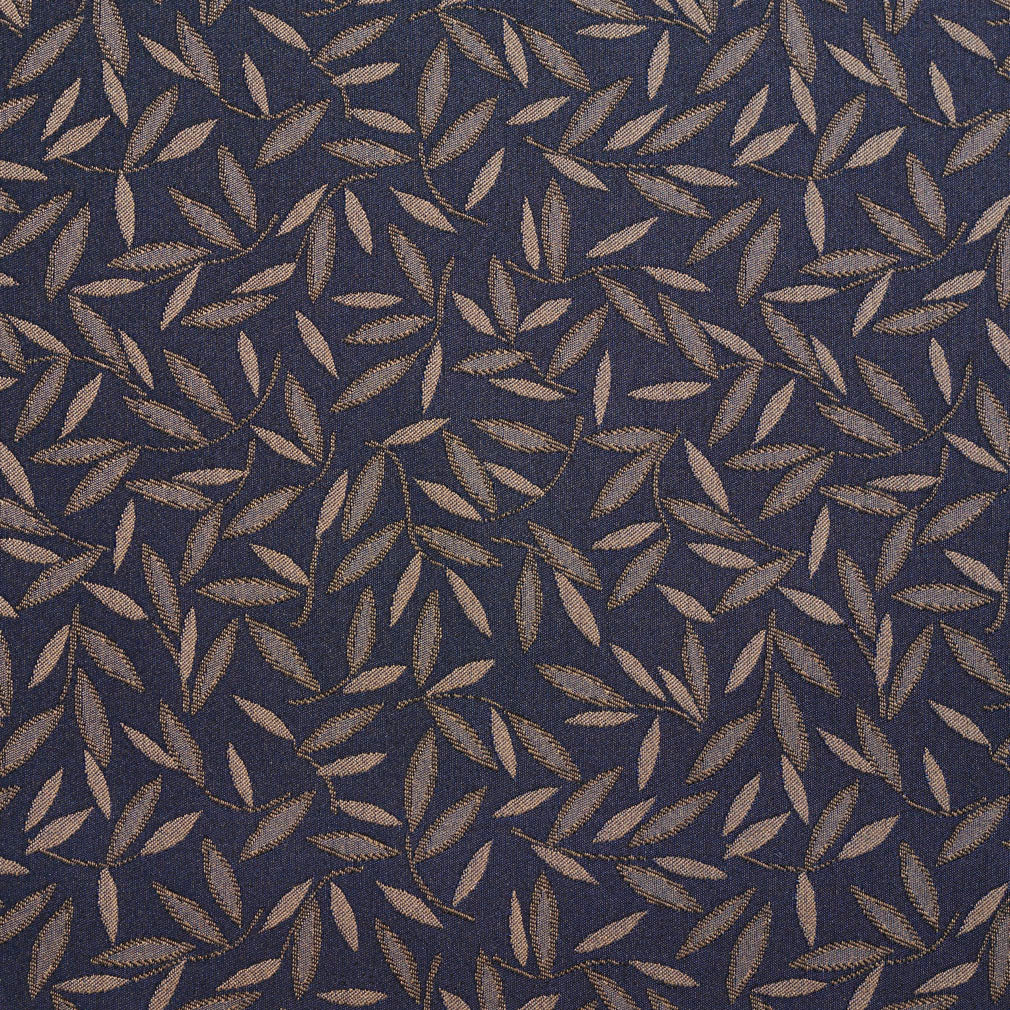 Essentials Navy Tan Leaf Branches Upholstery Drapery Fabric / Baltic