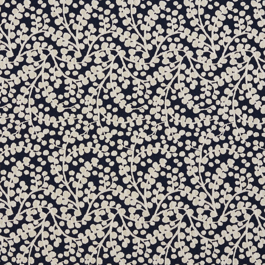 Essentials Navy White Upholstery Fabric / Cobalt Vine