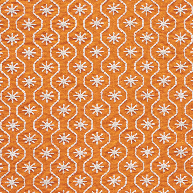 SCHUMACHER GIGI EMBROIDERY FABRIC / ORANGE