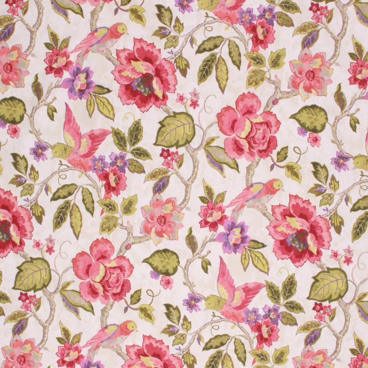 Spanish Cotton Floral Bird Drapery Fabric Ivory Beige Red Green / Orchid