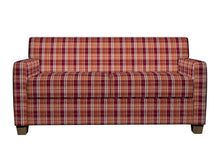 Load image into Gallery viewer, Essentials Orange Maroon White Checkered Upholstery Fabric / Spice Plaid
