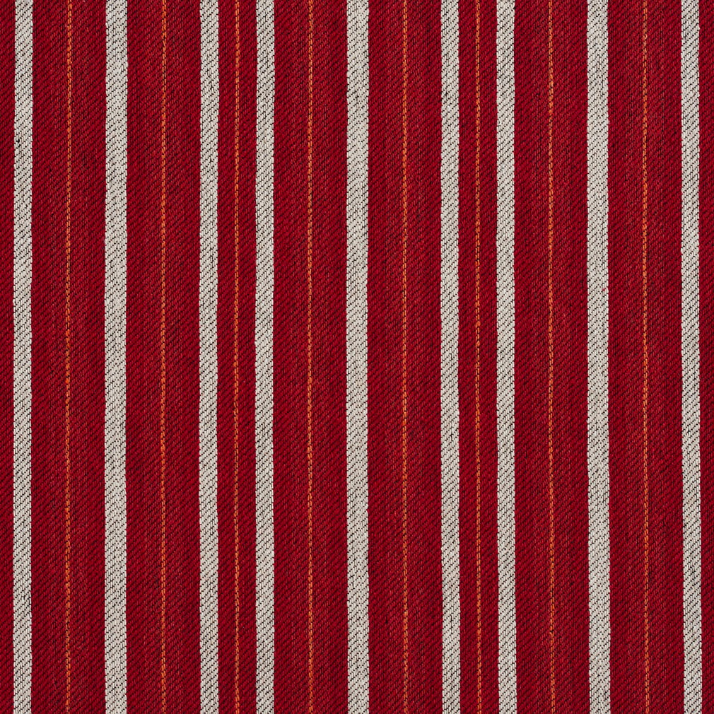 Essentials Orange Maroon White Upholstery Fabric / Spice Stripe