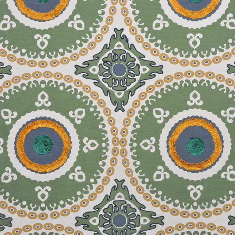 Embroidered Medallion Corded Drapery Fabric Green Ivory Mustard Blue / Panna Green RMBLV