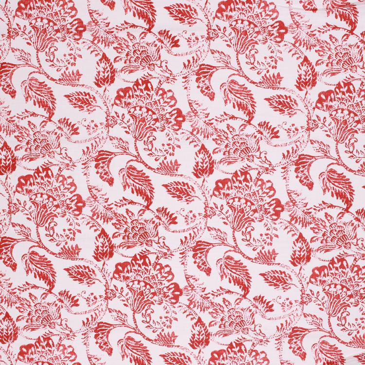 Floral Cotton Drapery Upholstery Red Burgundy Fabric / Paprika RMIL1
