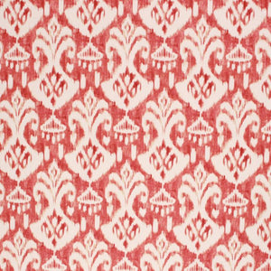 Cotton Ikat Ethnic Drapery Upholstery Fabric Rusty Orange Red Cream / Paprika