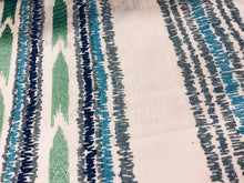 Load image into Gallery viewer, Embroidered Drapery Stripe Fabric Ivory Navy Blue Aqua / Peacock RMBLV