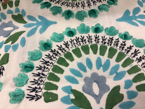 Embroidered Floral Velvet Drapery Fabric Ivory Navy Blue Aqua / Peacock RMBLV