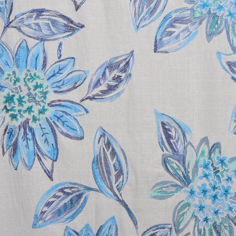 Cotton Embroidered Floral Drapery Fabric Ivory Navy Blue Aqua / Peacock RMBLV