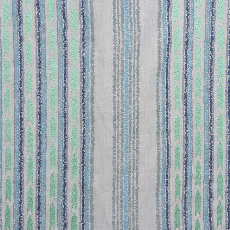Embroidered Drapery Stripe Fabric Ivory Navy Blue Aqua / Peacock RMBLV