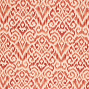 Cotton Linen Ikat Drapery Upholstery Fabric Red Orange / Persimmon RMIL1