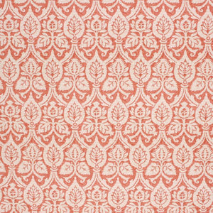 Cotton Damask Upholstery Drapery Fabric Coral Orange Cream / Persimmon