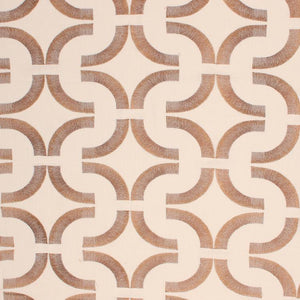 Introspective Embroidered Brown Geometric Cotton Linen Drapery Fabric / Chestnut
