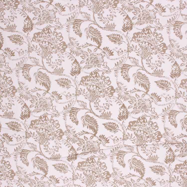 Floral Cotton Drapery Upholstery Mauve Lilac Cream Fabric / Putty RMIL1