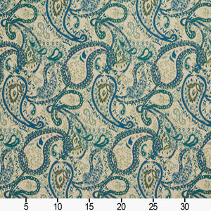 Essentials Outdoor Upholstery Drapery Paisley Fabric / Blue Beige
