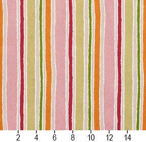 Essentials Pink Fuchsia Orange Lime Tan Ivory White Stripe Upholstery Drapery Fabric