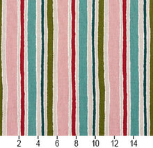 Load image into Gallery viewer, Essentials Pink Fuchsia Turquoise Lime Teal Ivory White Stripe Upholstery Drapery Fabric