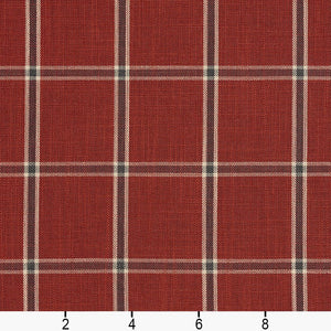 Essentials Heavy Duty Plaid Upholstery Drapery Fabric / Red Gray Beige